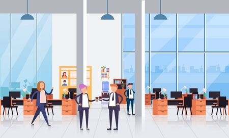 Business people office workers characters talking. Coffee break concept. Vector flat cartoon graphic design isolated illustration Zdjęcie Seryjne - 129345530