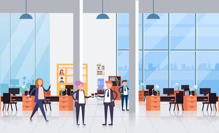 Geschäftsleute Büroangestellte Charaktere sprechen. Konzept der Kaffeepause. Vector flaches Karikaturgrafikdesign lokalisierte Illustration