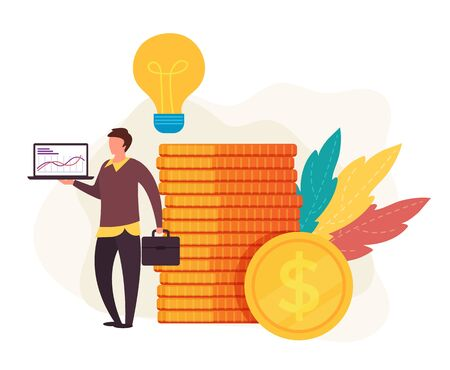 Successful businessman start up idea concept. Vector flat cartoon graphic design isolated illustration Zdjęcie Seryjne - 129345535