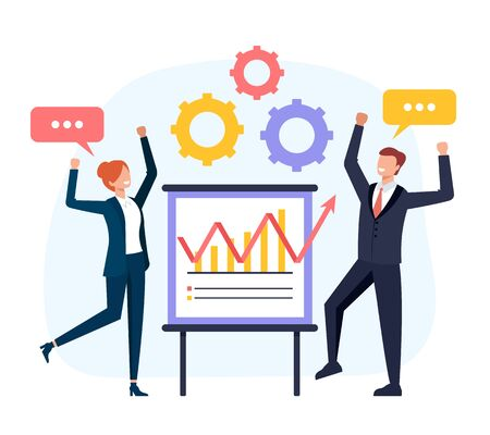 Business success teamwork business people concept. Vector flat cartoon graphic design isolated illustration