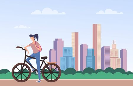 Woman riding bicycle. Cycling concept. Vector flat cartoon graphic design isolated illustration