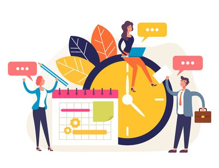 Weekly tasks management concept. Vector flat cartoon graphic design isolated illustration Vetores