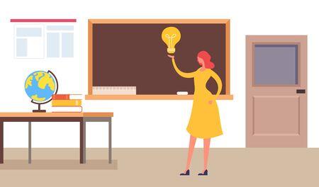 Teacher woman character standing near blackboard. Education concept. Vector flat cartoon graphic design isolated illustration Zdjęcie Seryjne - 129345555