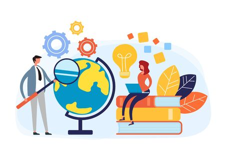 Global education web online courses tutorials concept. Vector flat cartoon graphic design illustration Zdjęcie Seryjne - 129345561