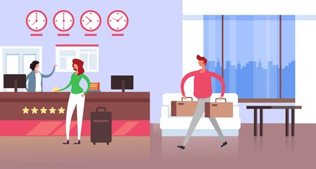 Hotel reception concept. Vector flat cartoon graphic design isolated illustration
