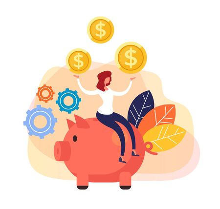 Money savings piggy bank. Banking business concept. Vector flat cartoon graphic design isolated illustration Zdjęcie Seryjne - 129345560