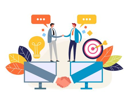 Two businessmen office workers shaking hands online. Web internet deal agreement business concept. Vector flat cartoon graphic design isolated illustration Zdjęcie Seryjne - 129345575