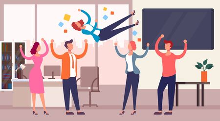 Successful team throwing colleague winner up. Business success concept. Vector flat cartoon graphic design isolated illustration Zdjęcie Seryjne - 129345584