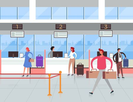 Airport terminal passport control concept. Travel tourism flat graphic design illustration Фото со стока - 129345582