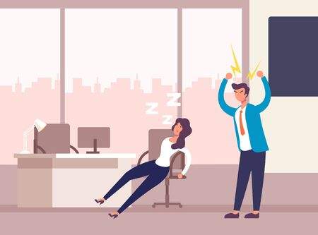 Angry boss character and sleeping employee. Office life concept. Vector flat graphic design illustration