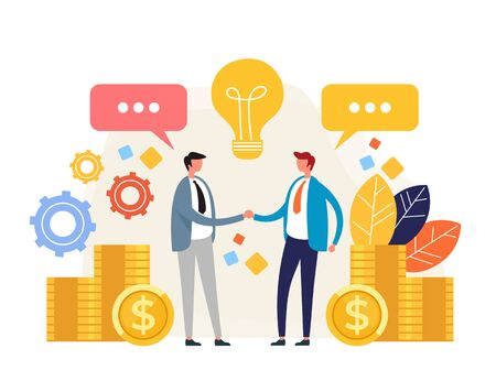 Two business people office workers characters shaking hands. Business deal concept. Vector flat graphic design illustration