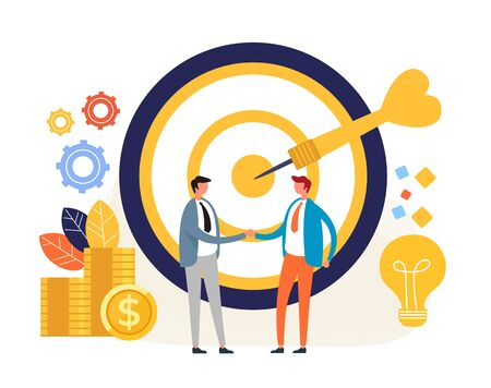 Business targeting deal concept. Vector flat graphic design illustration Zdjęcie Seryjne - 129345585
