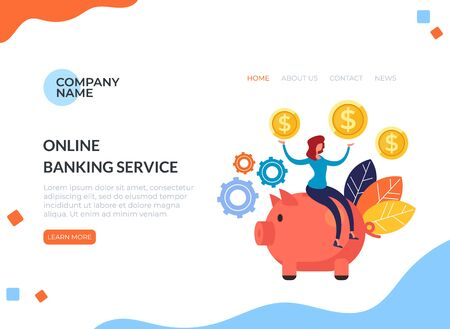Online banking service piggy bank concept. Vector flat cartoon graphic design illustration