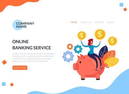 Online banking service piggy bank concept. Vector flat cartoon graphic design illustration Zdjęcie Seryjne - 129345592