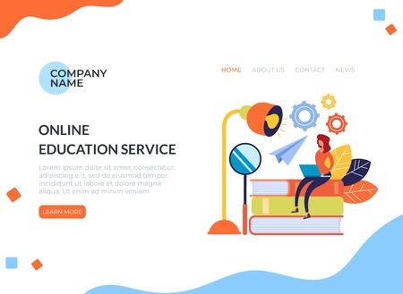 Online web education concept. Vector flat cartoon graphic design illustration Ilustracja