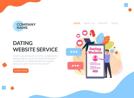Dating website mobile app service concept. Vector flat cartoon graphic design illustration