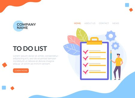 To do list concept. Vector flat cartoon graphic design illustration Ilustracja