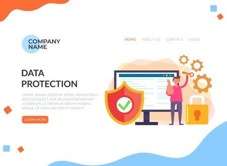 Personal data antivirus protection vector graphic design banner poster illustration Ilustracja