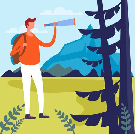 Tourist man character walking forest. Extreme sport concept. Vector flat cartoon graphic design illustration