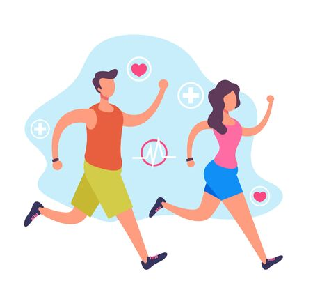 Sport people man and woman characters running jogging. Sporty healthy life concept. Vector flat cartoon graphic design illustration