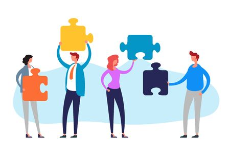 Teamwork puzzle management concept. Vector flat cartoon graphic design illustration Illustration