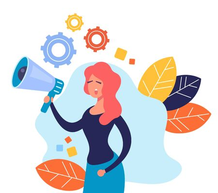 Woman character speaking megaphone. Announcement message advertising banner concept. Vector flat cartoon graphic design illustration Zdjęcie Seryjne - 129345611
