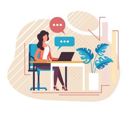 Secretaria recepcionista oficina trabajador carácter trabajando. Ilustración de diseño gráfico de dibujos animados plano de vector Ilustración de vector