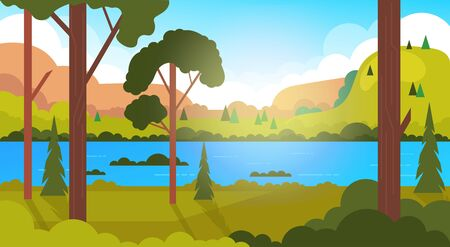 Empty green forest banner concept. Vector flat cartoon graphic design illustration