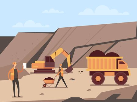 Coal mine production concept. Vector flat cartoon graphic design illustration