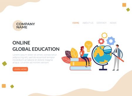 Online global education concept. Vector flat graphic design cartoon illustration