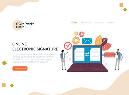 Electronic digital signature online business concept. Vector flat graphic design cartoon illustration Ilustração
