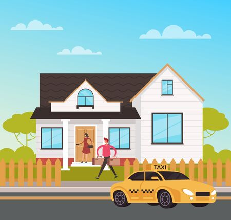 Taxi to house app service. Travel concept. Vector flat graphic design cartoon illustration