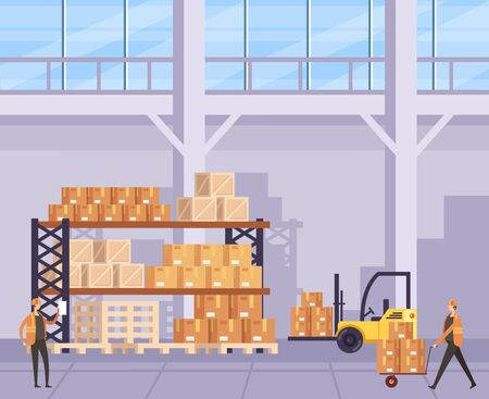 Box factory manufacturing shipping concept. Vector flat graphic design cartoon illustration