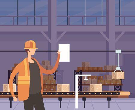 Box factory manufacturing concept. Vector flat graphic design cartoon illustration