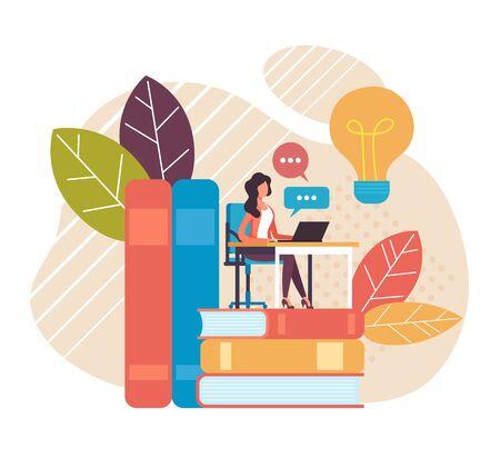 Online education studying training concept. Vector flat graphic design cartoon illustration