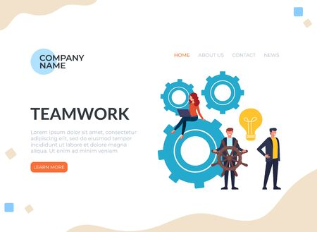 Teamwork leadership concept. Vector graphic design flat cartoon illustration