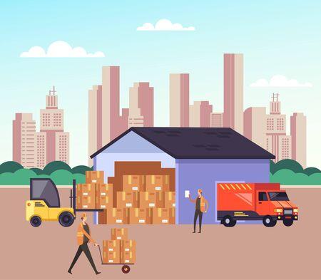 Concetto di logistica di spedizione di stoccaggio del magazzino. Illustrazione isolata fumetto piano grafico di progettazione di vettore