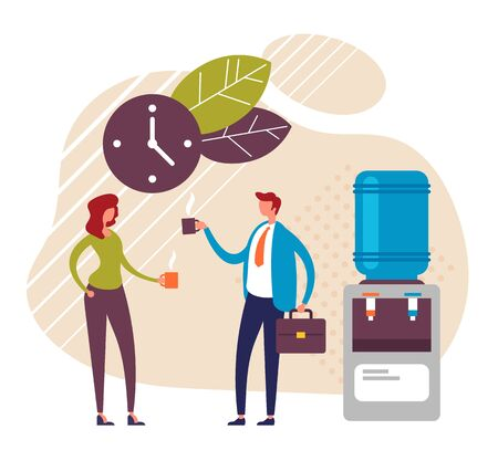 Two office workers people characters talking and drinking. Coffee break concept. Vector graphic design flat cartoon illustration
