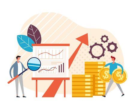 Successful business teamwork concept. Vector graphic design flat cartoon illustration