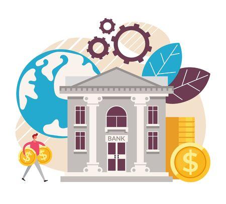 Bank deposit investment concept. Vector graphic design flat cartoon illustration