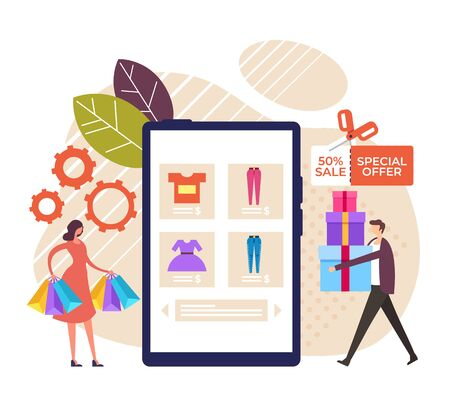 Online web shopping e commerce concept. Vector graphic design flat cartoon illustration