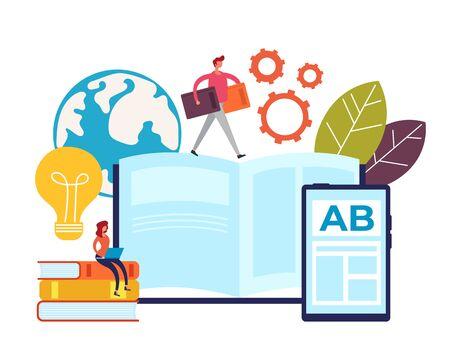 Insegnamento online apprendimento concetto di educazione. Illustrazione piana del fumetto di progettazione grafica vettoriale Vettoriali
