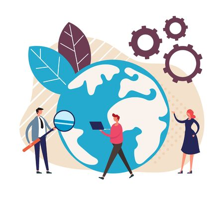 Outsourcing teamwork concept. Vector graphic design flat cartoon illustration