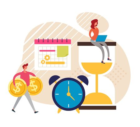 Time management concept. Vector graphic design flat cartoon illustration