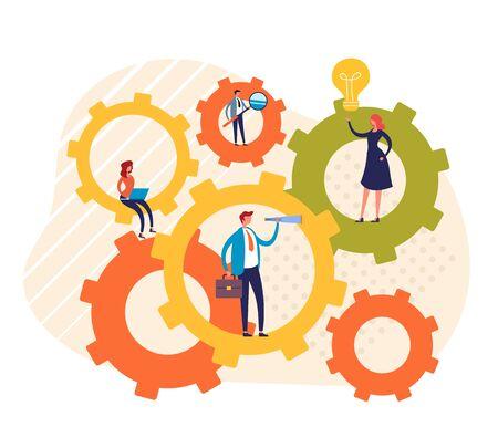 Teamwork businessmen office workers concept. Vector graphic design flat cartoon illustration