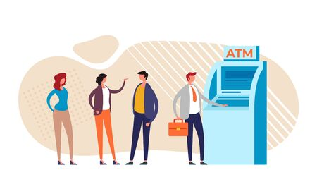 People characters waiting ATM line. Vector graphic design flat cartoon illustration Ilustração