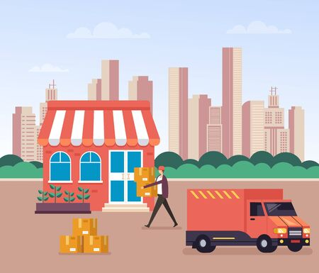 Delivery loader courier concept. Vector graphic design flat cartoon illustration  イラスト・ベクター素材