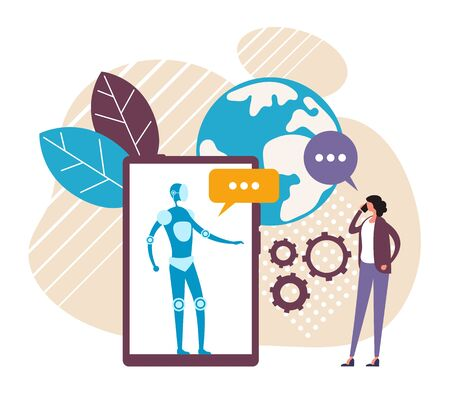 Robot online internet chatting assistance concept. Vector flat cartoon graphic design illustration  イラスト・ベクター素材