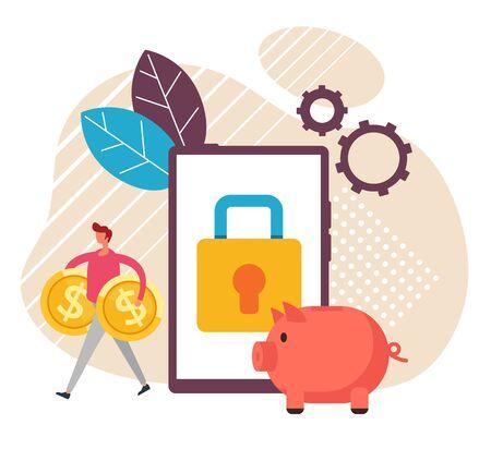 Mobile payment wireless transaction technology concept. Vector flat cartoon graphic design illustration Çizim