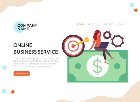 Online internet business banner concept. Vector flat cartoon graphic design illustration Çizim